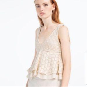 Zara Trafaluc Cream Crochet knit Tank Top size S